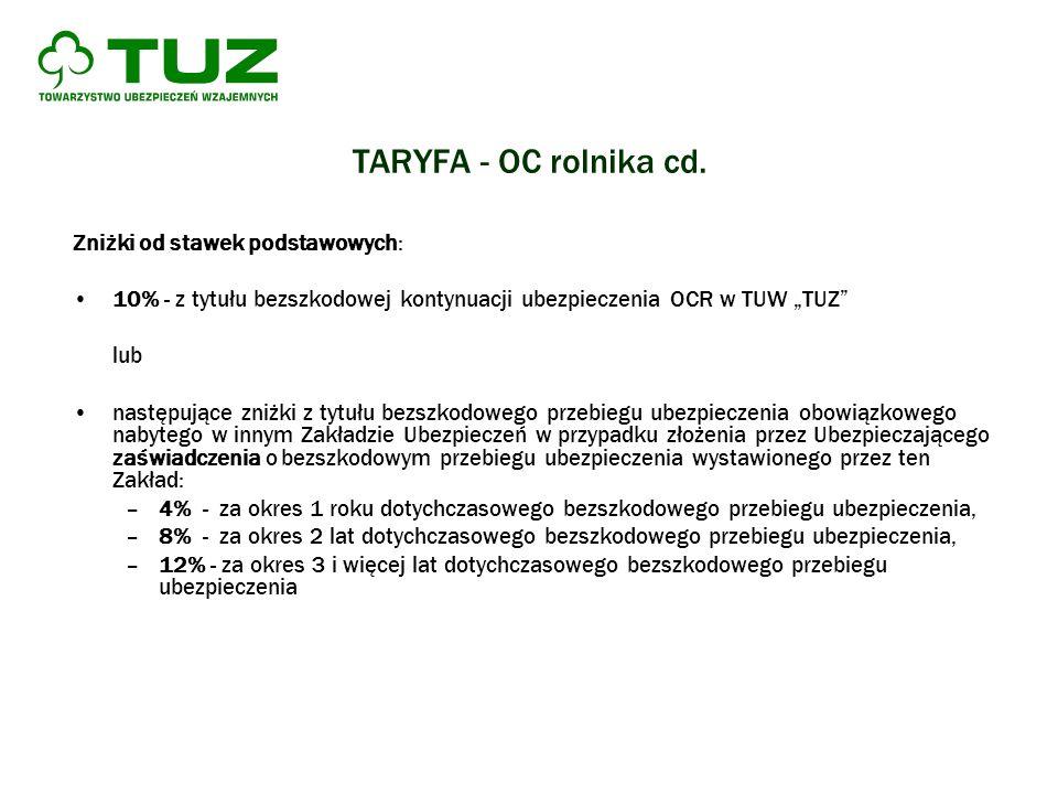 TARYFA - OC rolnika cd. Zniżki od stawek podstawowych: