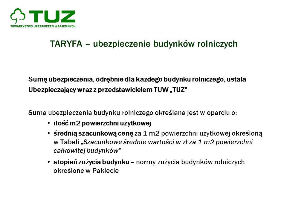 TARYFA – ubezpieczenie budynków rolniczych