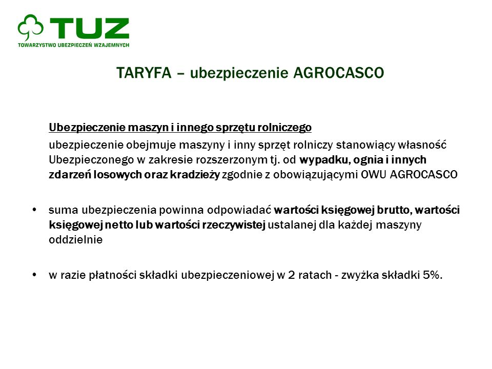 TARYFA – ubezpieczenie AGROCASCO