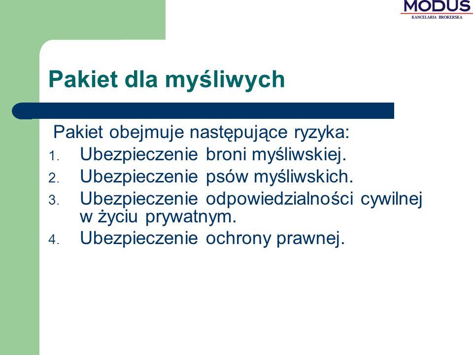 Pakiet dla myśliwych Pakiet obejmuje następujące ryzyka: