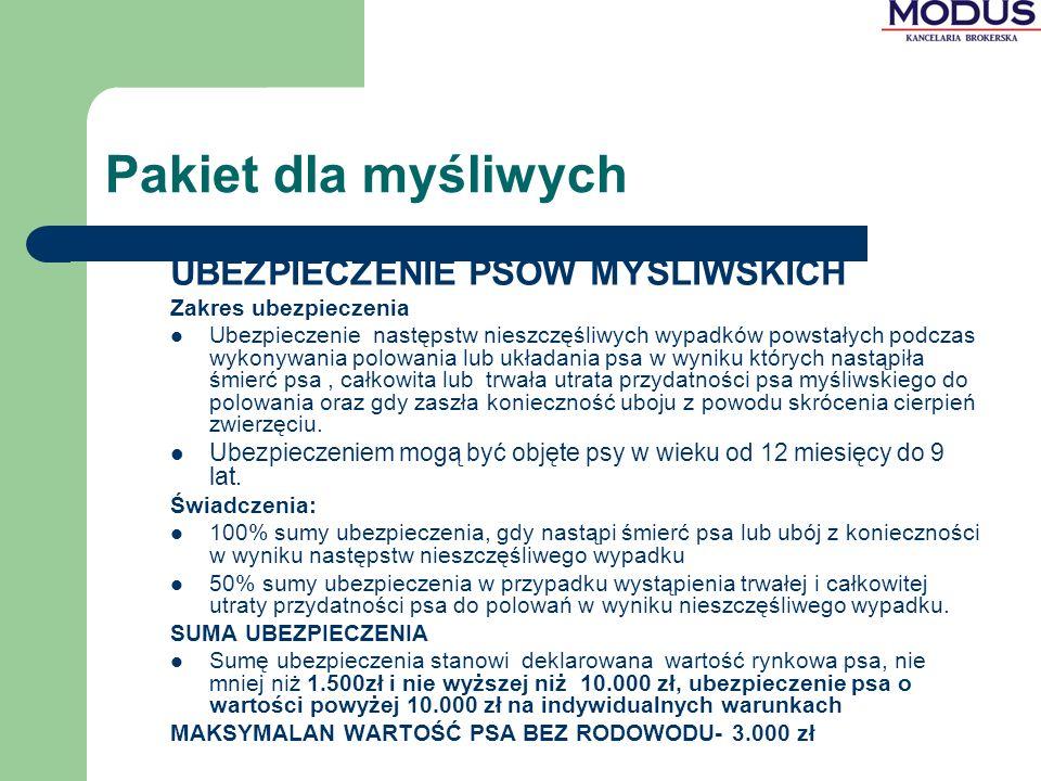 Pakiet dla myśliwych UBEZPIECZENIE PSÓW MYŚLIWSKICH