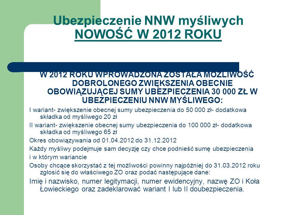Ubezpieczenie NNW myśliwych NOWOŚĆ W 2012 ROKU