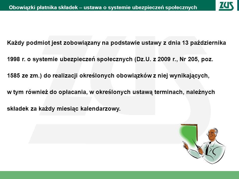 Obowiązki płatnika składek – ustawa o systemie ubezpieczeń społecznych