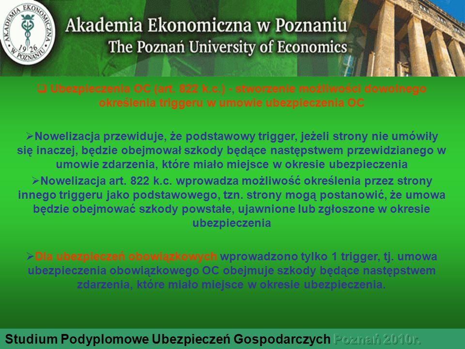 Studium Podyplomowe Ubezpieczeń Gospodarczych Poznań 2010r.