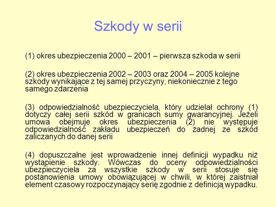 Szkody w serii (1) okres ubezpieczenia 2000 – 2001 – pierwsza szkoda w serii.