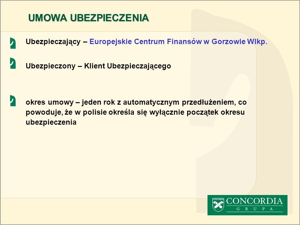 UMOWA UBEZPIECZENIA Ubezpieczający – Europejskie Centrum Finansów w Gorzowie Wlkp. Ubezpieczony – Klient Ubezpieczającego.