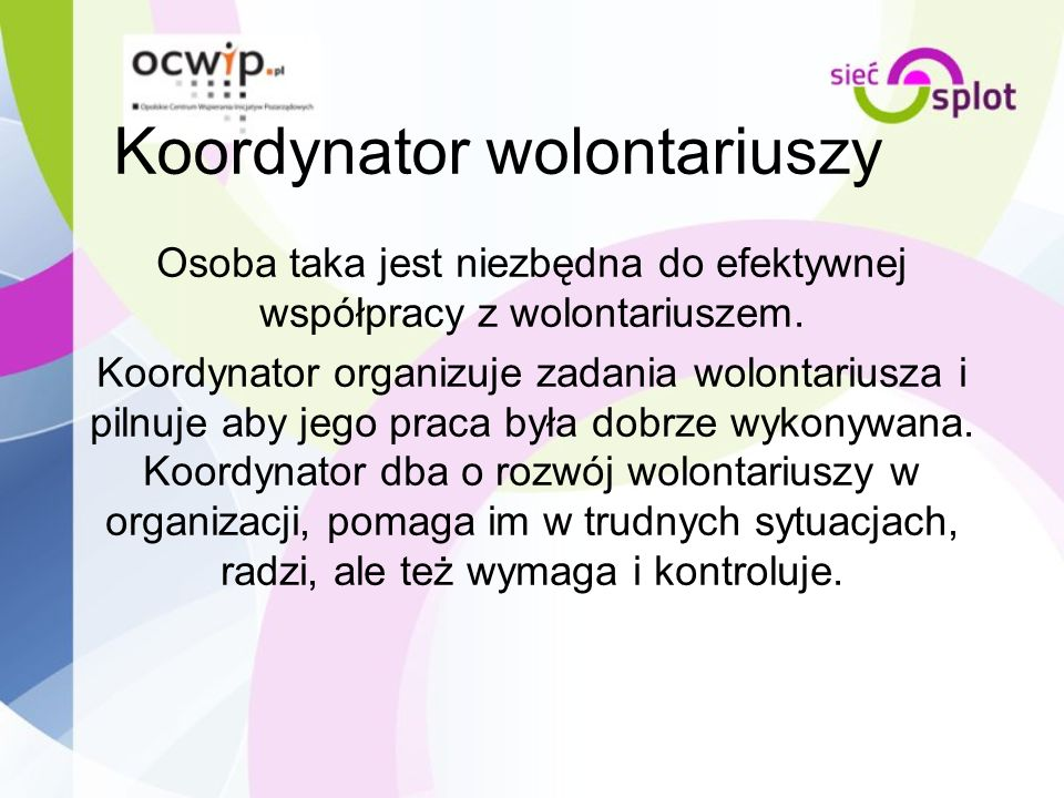 Koordynator wolontariuszy