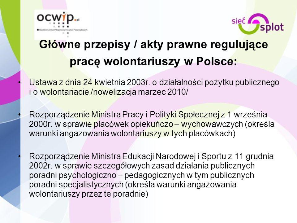 Główne przepisy / akty prawne regulujące pracę wolontariuszy w Polsce: