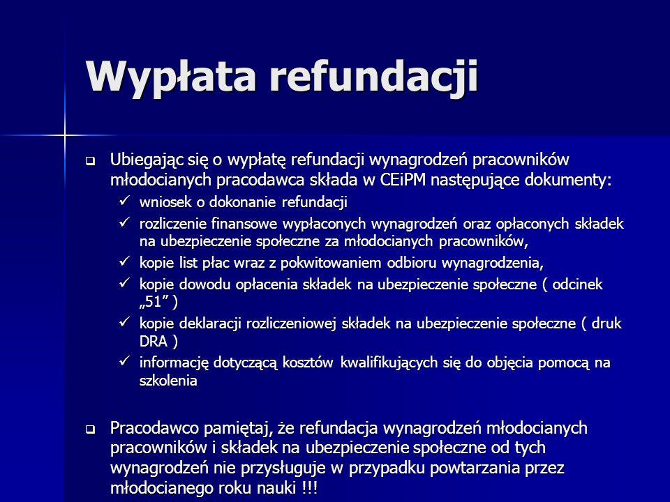 Wypłata refundacji Ubiegając się o wypłatę refundacji wynagrodzeń pracowników młodocianych pracodawca składa w CEiPM następujące dokumenty: