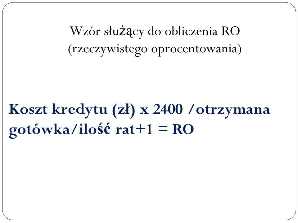 Wzór służący do obliczenia RO (rzeczywistego oprocentowania)