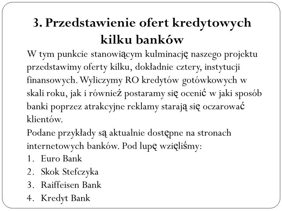 3. Przedstawienie ofert kredytowych kilku banków