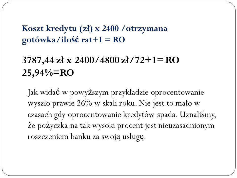 Koszt kredytu (zł) x 2400 /otrzymana gotówka/ilość rat+1 = RO
