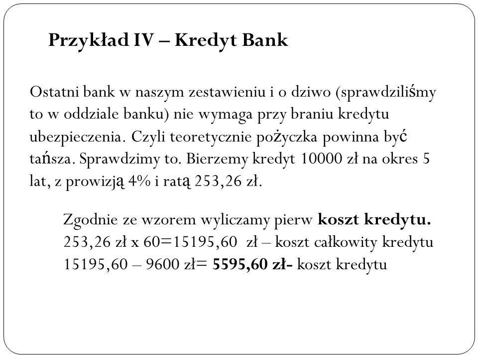 Przykład IV – Kredyt Bank