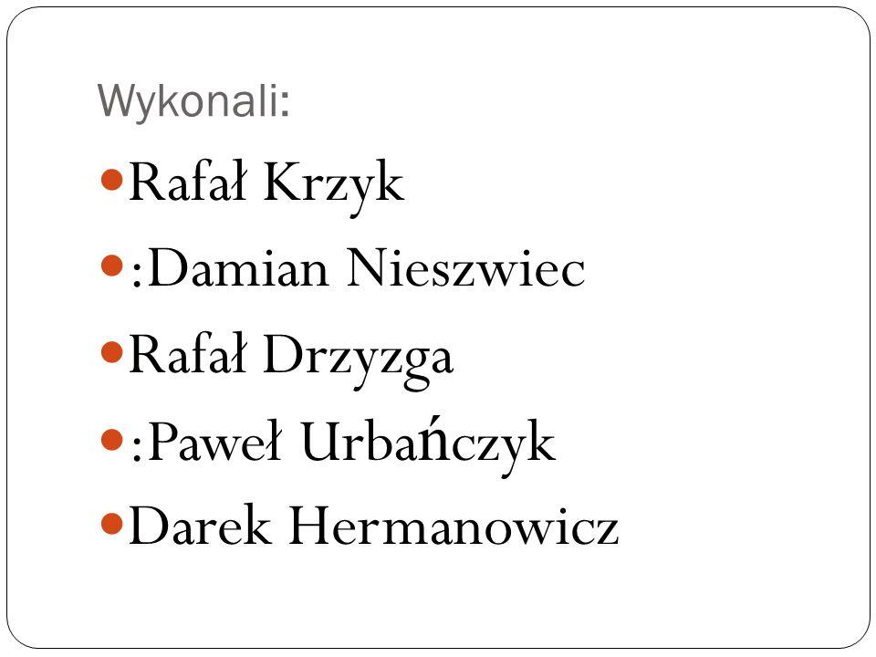 Rafał Krzyk :Damian Nieszwiec Rafał Drzyzga :Paweł Urbańczyk