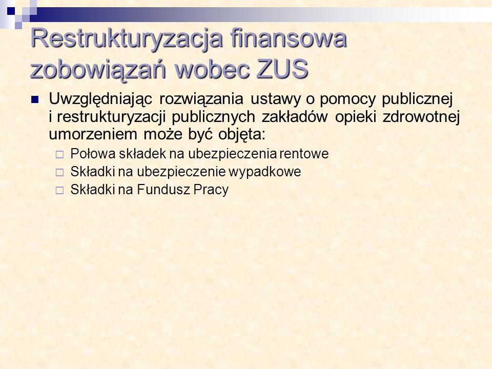 Restrukturyzacja finansowa zobowiązań wobec ZUS