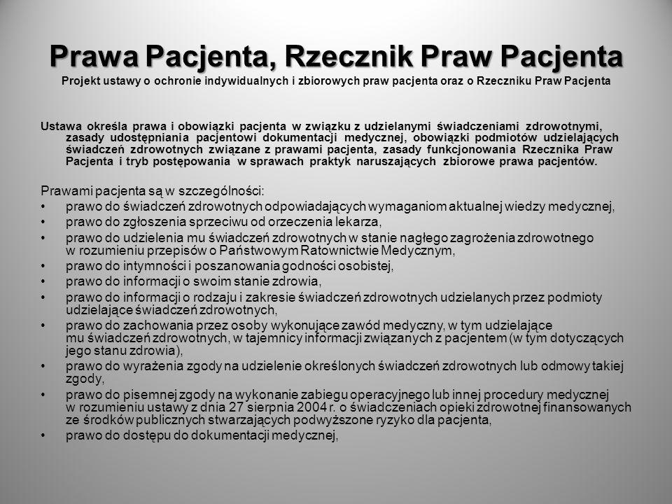 Prawa Pacjenta, Rzecznik Praw Pacjenta Projekt ustawy o ochronie indywidualnych i zbiorowych praw pacjenta oraz o Rzeczniku Praw Pacjenta