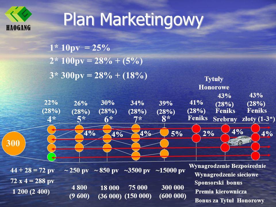 Plan Marketingowy 1* 10pv = 25% 2* 100pv = 28% + (5%)
