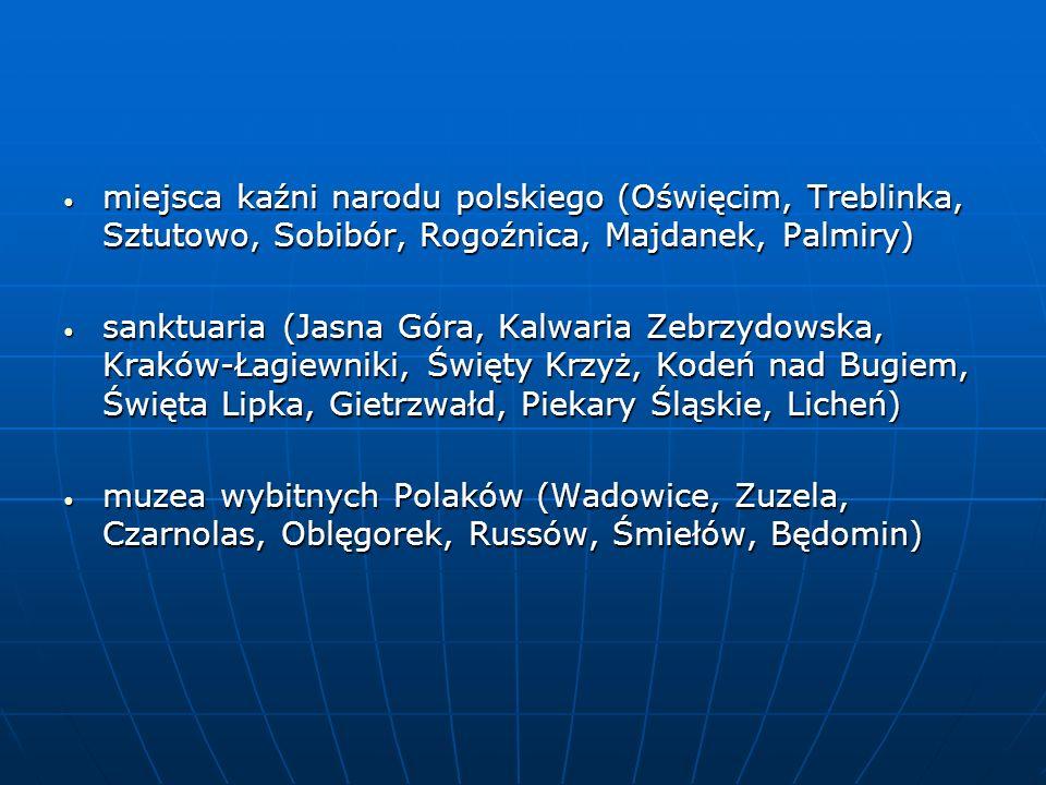 miejsca kaźni narodu polskiego (Oświęcim, Treblinka, Sztutowo, Sobibór, Rogoźnica, Majdanek, Palmiry)