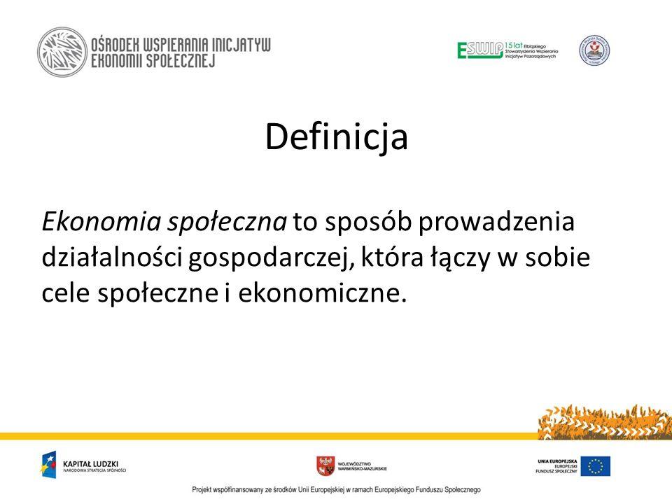 Definicja Ekonomia społeczna to sposób prowadzenia działalności gospodarczej, która łączy w sobie cele społeczne i ekonomiczne.