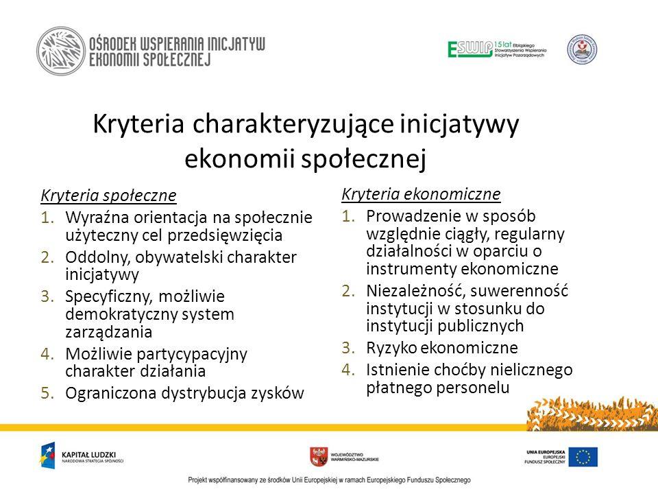 Kryteria charakteryzujące inicjatywy ekonomii społecznej