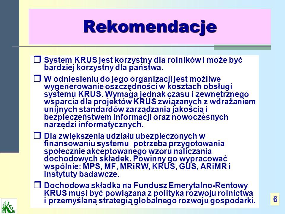 RekomendacjeSystem KRUS jest korzystny dla rolników i może być bardziej korzystny dla państwa.