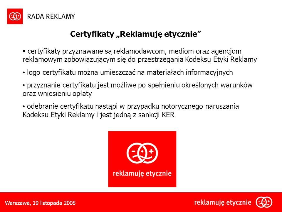 """Certyfikaty """"Reklamuję etycznie"""