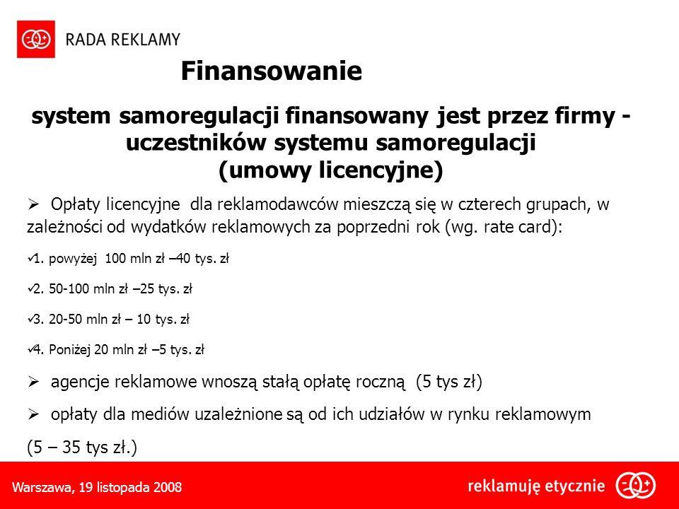 Finansowanie system samoregulacji finansowany jest przez firmy - uczestników systemu samoregulacji.