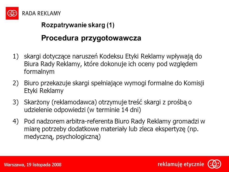 Rozpatrywanie skarg (1) Procedura przygotowawcza