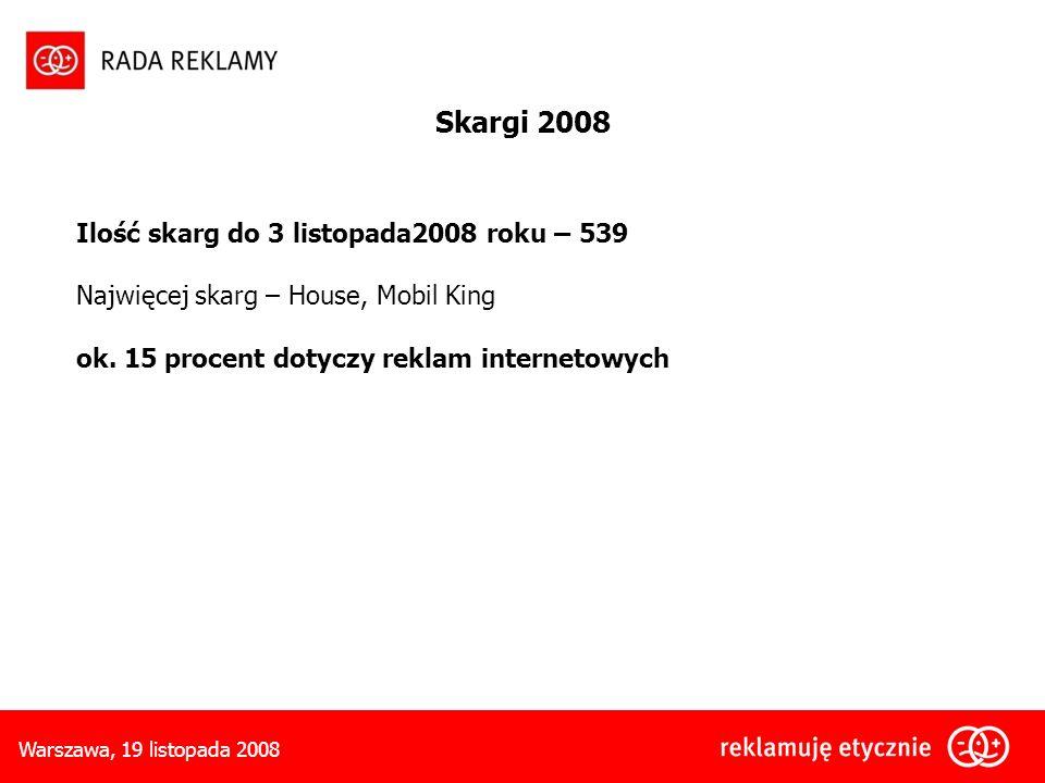 Skargi 2008 Ilość skarg do 3 listopada2008 roku – 539
