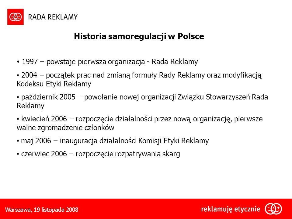 Historia samoregulacji w Polsce