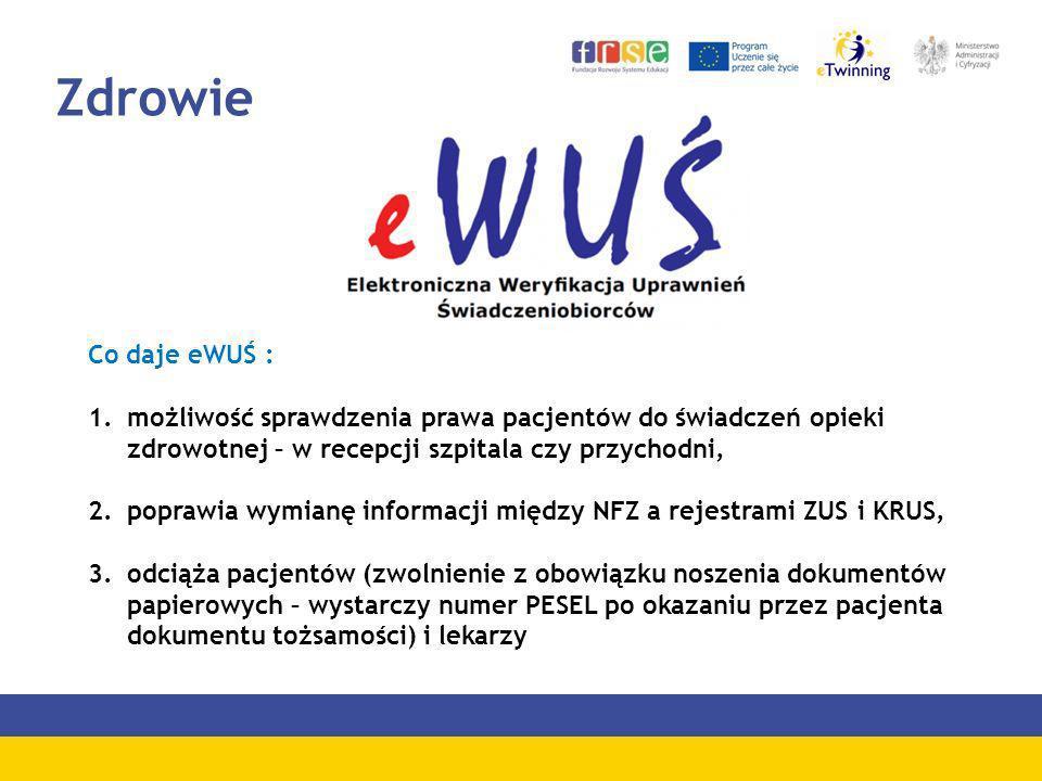 Zdrowie Co daje eWUŚ : możliwość sprawdzenia prawa pacjentów do świadczeń opieki zdrowotnej – w recepcji szpitala czy przychodni,