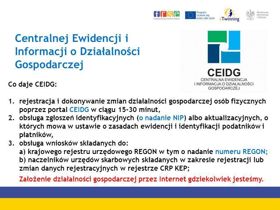 Centralnej Ewidencji i Informacji o Działalności Gospodarczej