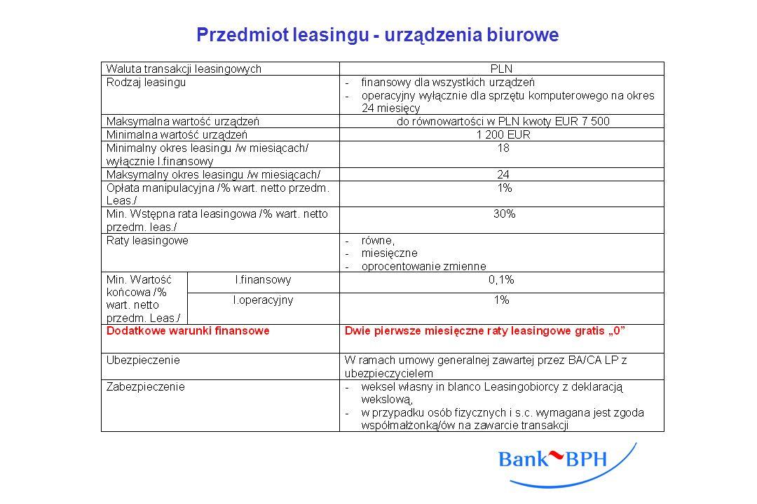 Przedmiot leasingu - urządzenia biurowe