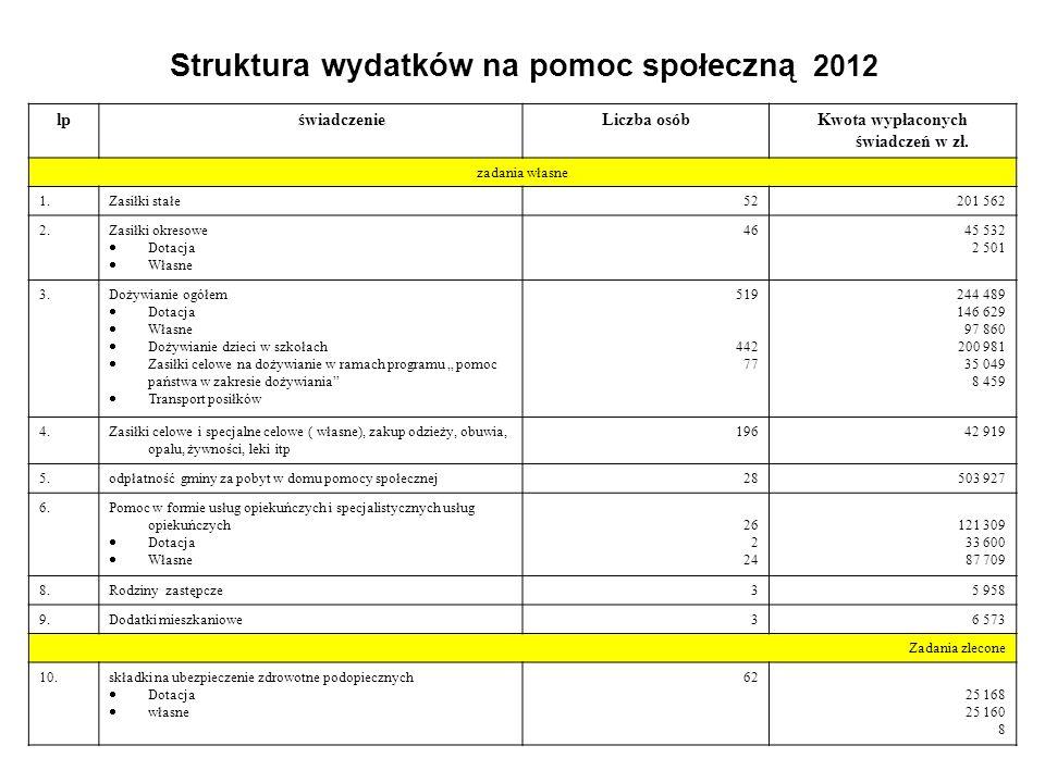 Struktura wydatków na pomoc społeczną 2012