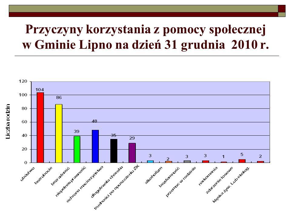 Przyczyny korzystania z pomocy społecznej w Gminie Lipno na dzień 31 grudnia 2010 r.
