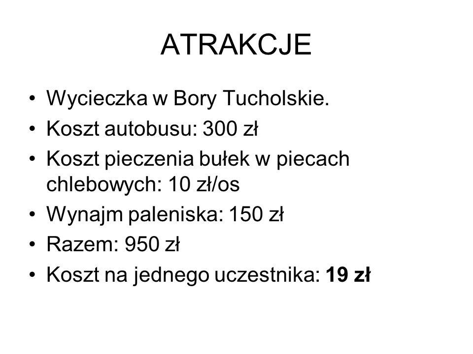 ATRAKCJE Wycieczka w Bory Tucholskie. Koszt autobusu: 300 zł