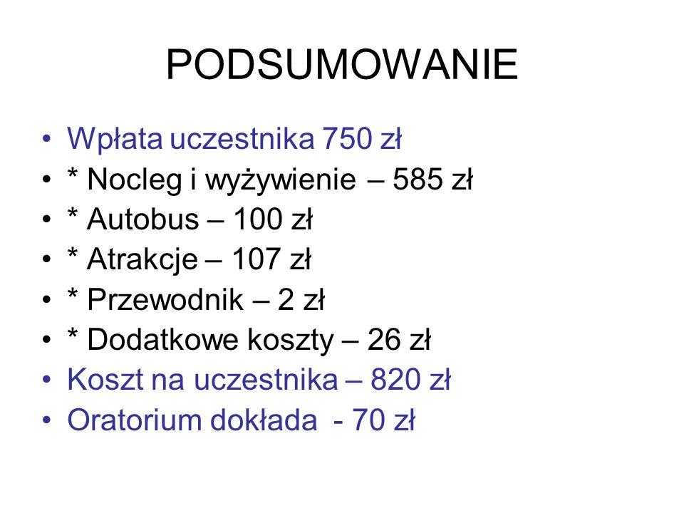PODSUMOWANIE Wpłata uczestnika 750 zł * Nocleg i wyżywienie – 585 zł