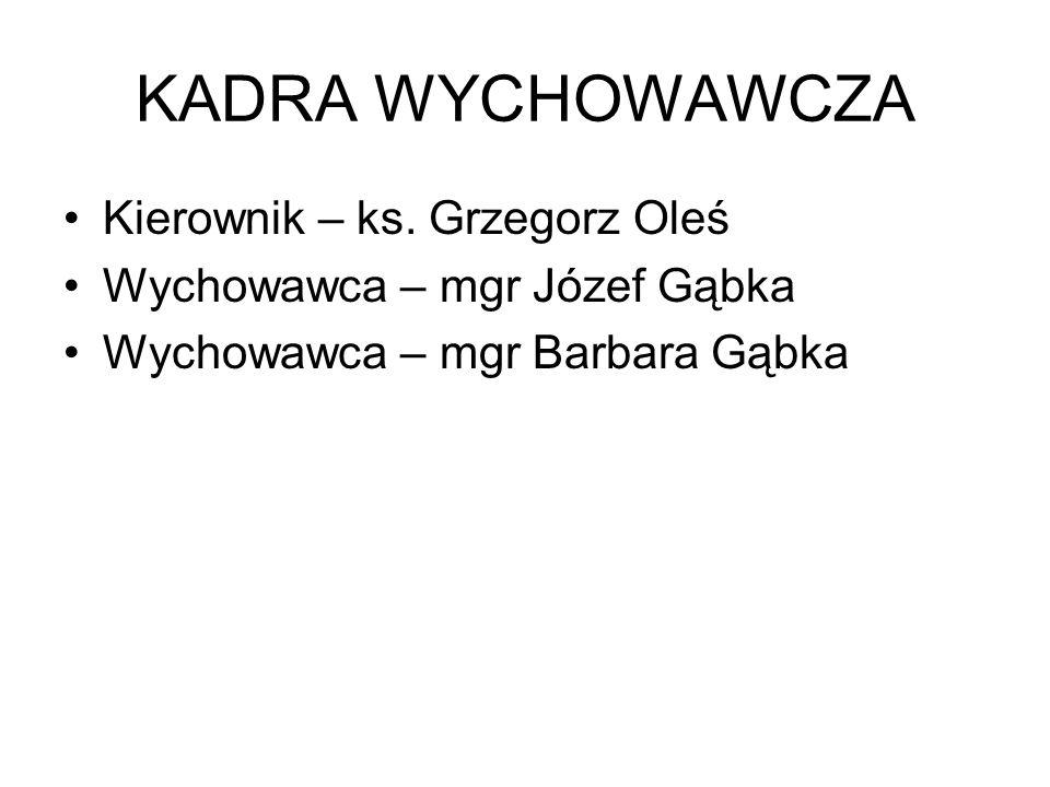 KADRA WYCHOWAWCZA Kierownik – ks. Grzegorz Oleś