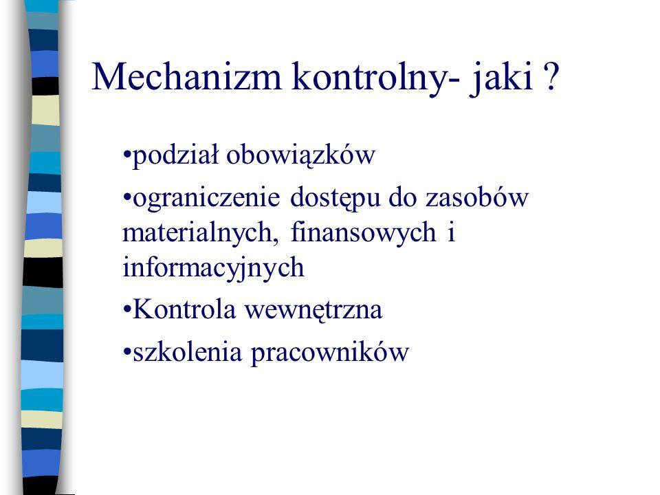 Mechanizm kontrolny- jaki