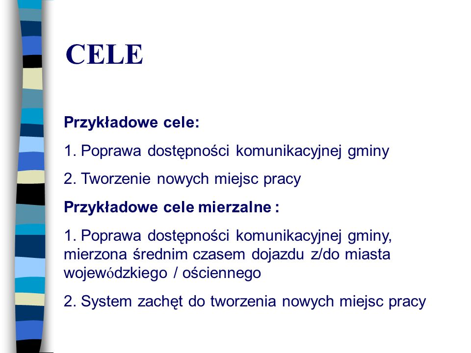 CELE Przykładowe cele: 1. Poprawa dostępności komunikacyjnej gminy