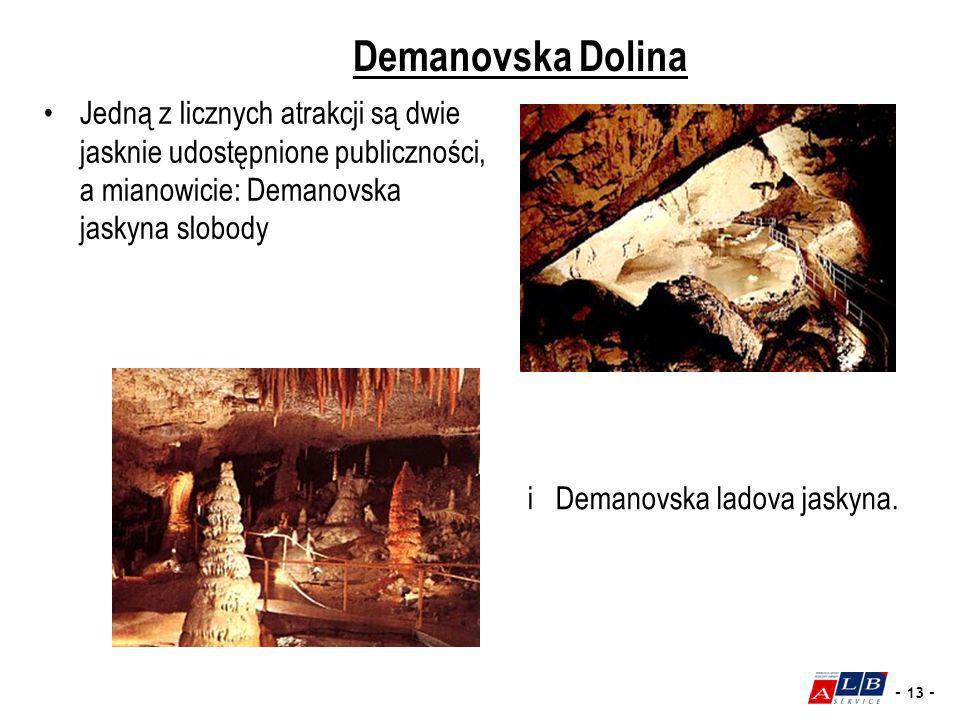 Demanovska Dolina Jedną z licznych atrakcji są dwie jasknie udostępnione publiczności, a mianowicie: Demanovska jaskyna slobody.