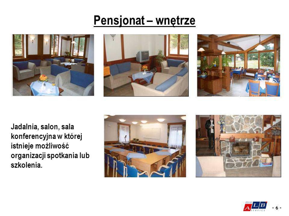 Pensjonat – wnętrze Jadalnia, salon, sala konferencyjna w której istnieje możliwość organizacji spotkania lub szkolenia.