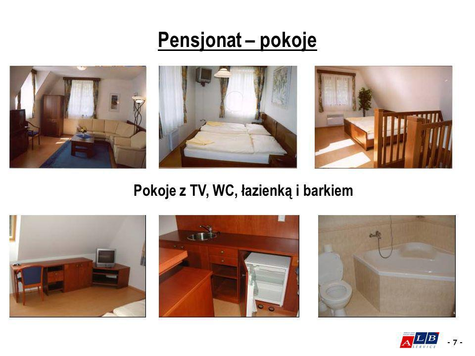 Pokoje z TV, WC, łazienką i barkiem