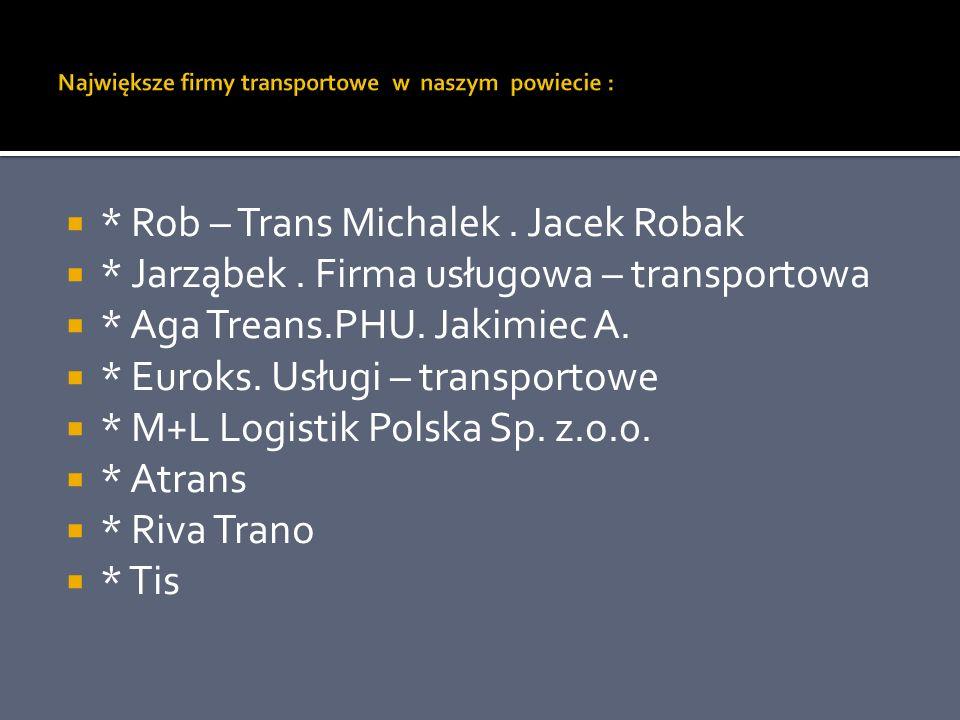 Największe firmy transportowe w naszym powiecie :