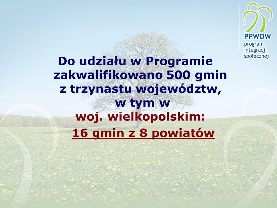 Do udziału w Programie zakwalifikowano 500 gmin z trzynastu województw, w tym w woj. wielkopolskim: