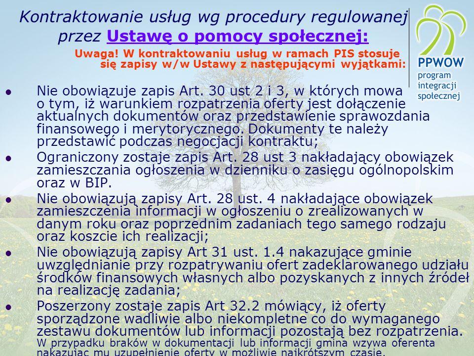 Kontraktowanie usług wg procedury regulowanej przez Ustawę o pomocy społecznej: