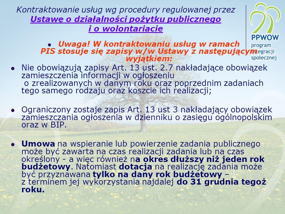 Kontraktowanie usług wg procedury regulowanej przez Ustawę o działalności pożytku publicznego i o wolontariacie