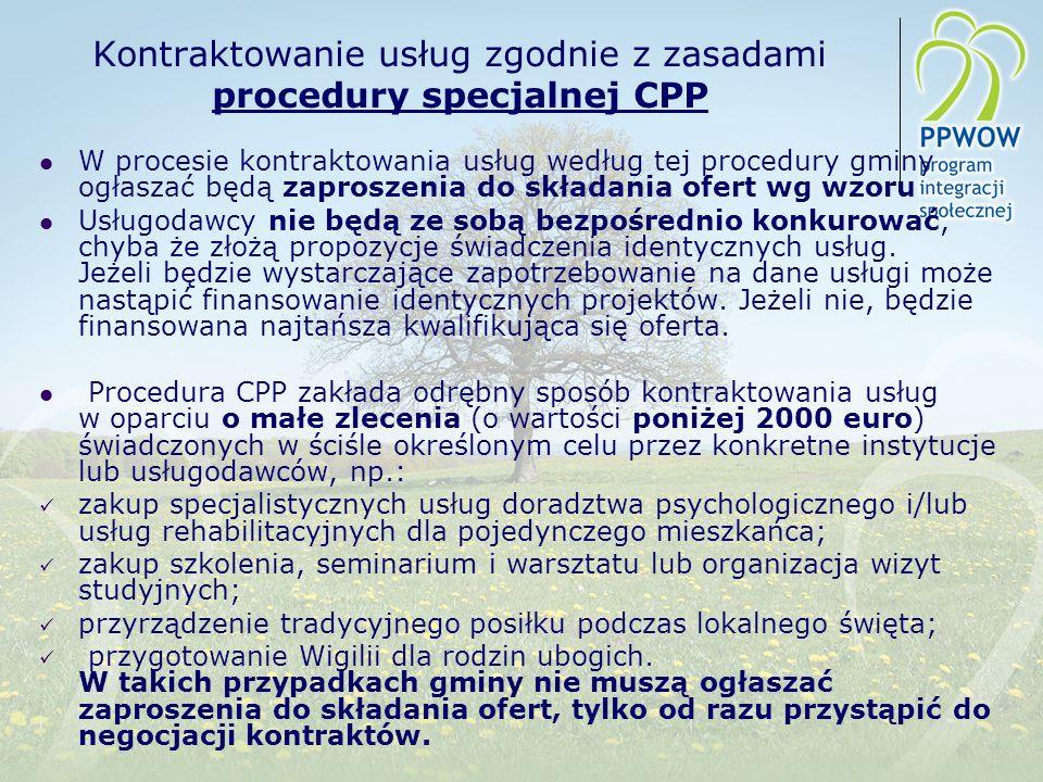 Kontraktowanie usług zgodnie z zasadami procedury specjalnej CPP