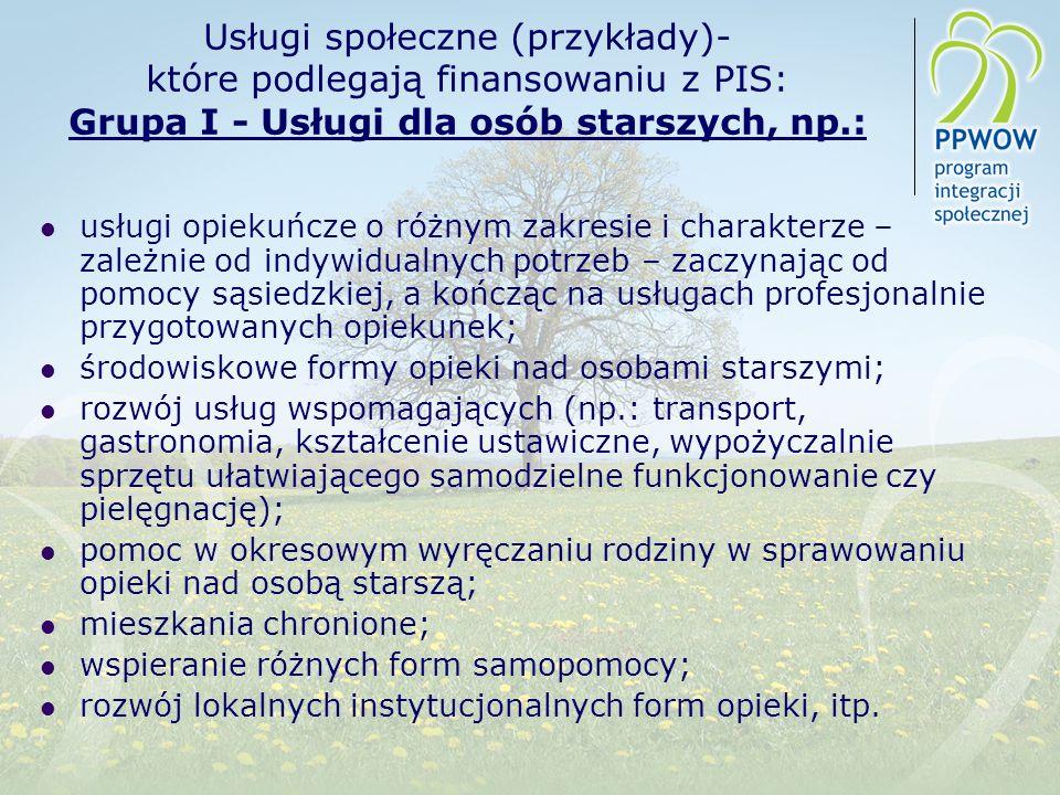 Usługi społeczne (przykłady)- które podlegają finansowaniu z PIS: Grupa I - Usługi dla osób starszych, np.:
