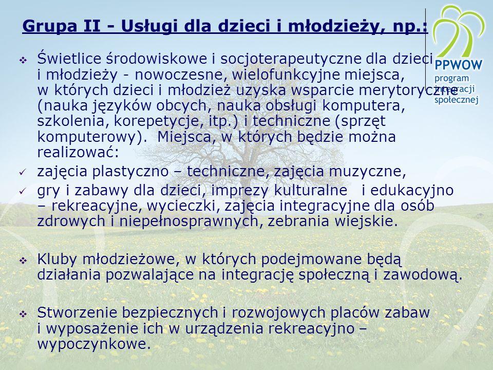 Grupa II - Usługi dla dzieci i młodzieży, np.: